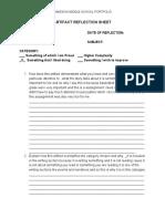 alihadiwriting2015artifactreflectionsheet