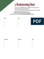 allegory brainstorming sheet
