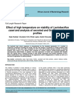 Effect of High Temperatureon viability of Lactobacillus casei