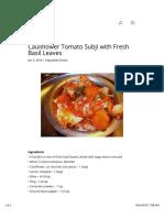 Cauliflower Tomato Subji With Fresh Basil Leaves | Veg Recipes By ISKCON Desire Tree