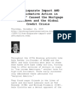 How Disparate Impact and Affirmative Action in Lending Caused the Mortgage Meltdown...
