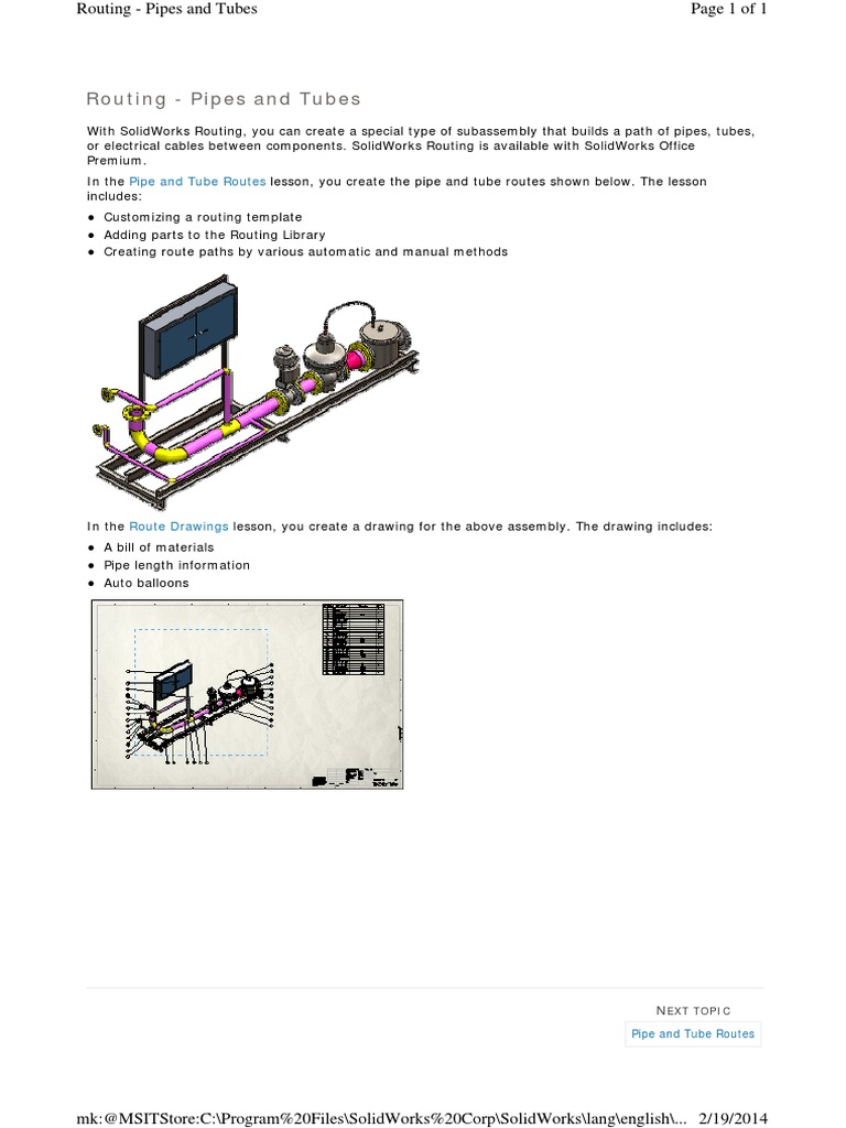 Solidworks routing piping e tubing manuale solidworld.