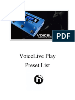 Voicelive Play Preset List