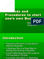 methods & Procedures to start new business