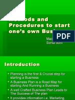 methods & Procedures to start new business