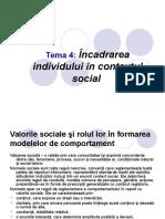 Valorile Sociale Şi Rolul Lor În Formarea Modelelor de Comportament