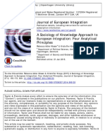 A Sociology of Knowledge Approach to European Integration