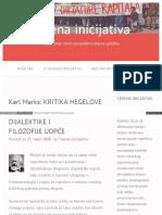 Karl Marks Kritika Hegelove Dijalektike i Filozofije Uopće