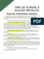 Mecanisme de rupere a materialelor metalice