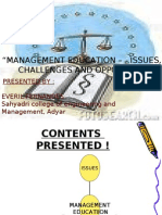 management education , issues, challenges, opportunities