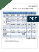 Admission Calendar CMC Vellore