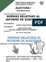 NORMAS RELATIVOS AL INFORME DE AUDITORIA