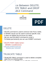 Difference Between Delete, Truncate Table and Drop