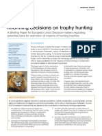 Informing Decisions On Trophy Hunting (Hunting IS Conservation)
