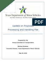 TxDMV prepared testimony on processing fee