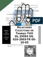 Relaciones CoRELACIONES COLECTIVAS DE TRABAJO TUO DL.25593 DS. 010-2003-TR 05-10-03lectivas de Trabajo Tuo Dl.25593 Ds. 010-2003-Tr 05-10-03