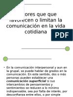 FACTORES QUE FAVORECEN O AFECTAN LA COMUNICACIÓN