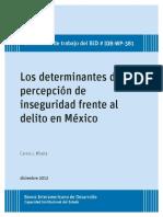 Los Determinantes de La Percepcion de Inseguridad Frente Al Delito en Mexico