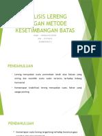 10. Analisis Lereng Dengan Metode Kesetimbangan Batas-handika Nugraha (212150018)
