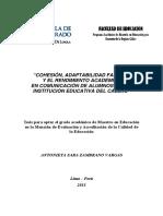 2011 Zambrano Cohesión Adaptabilidad Familiar y Rendimiento Académico en Comunicación de Alumnos de Una Institución Educativa Del Callao