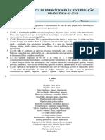 Lista de Exercicios Recuperacao Gramatica Matutino e Vespertino 1 Ano