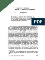 Persona y Génesis Una Teoría de La Identidad Personal, Peter Schulz[1]