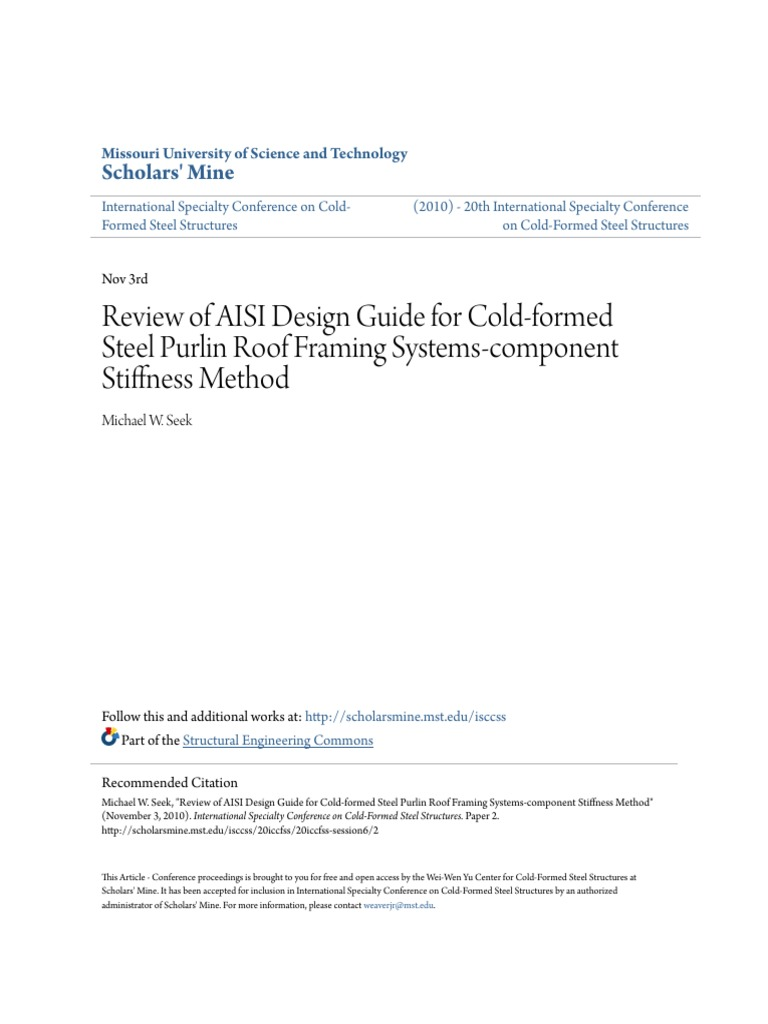 Review of AISI Design Guide for Cold-Formed Steel Purlin Roof ...