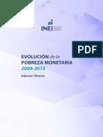Evolución de La Pobreza Monetaria