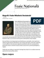 Biografii_ Fiodor Mihailovici Dostoievski - Foaie Națională