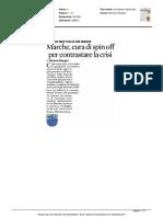 Marche, cura di spinoff per contrastare la crisi - Il Sole 24 ore del 18 maggio 2016
