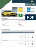 Euroncap 2015 Honda Jazz Datasheet
