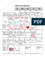 Nursing Home Activity Calendar May 2016 at Faith Lutheran Home
