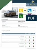 Euroncap 2015 Hyundai i20 Datasheet