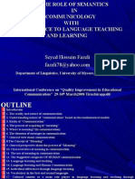 The Role of Semantics in Communicology With Reference to Language Teaching and Learning