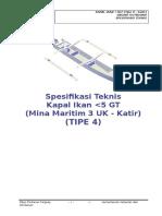 04. Spesifikasi Teknis Kapal Ikan 3 GT Tipe U - Dengan Katir (TIPE 4).R8.AGR