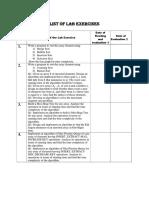 List of Lab Exercises
