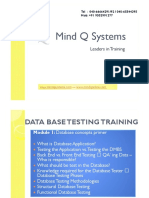 Data Base Testing Course Content