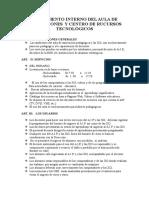 Reglamento Interno Del Aula de Innovaciones y Centro de Rucursos Tecnològicos