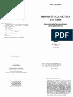 Livro Hermeneutica Juridica Em Crise Streck Lenio