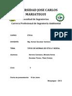 TIPO DE NORMAS DE ETICA Y MORAL