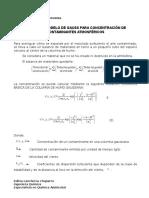 Fórmulas Modelo de Gauss Para Concentración de Contaminantes Atmosféricos