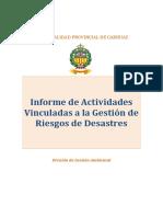 Informe de Actividades Vinculadas a La Gestión de Riesgos de Desastres
