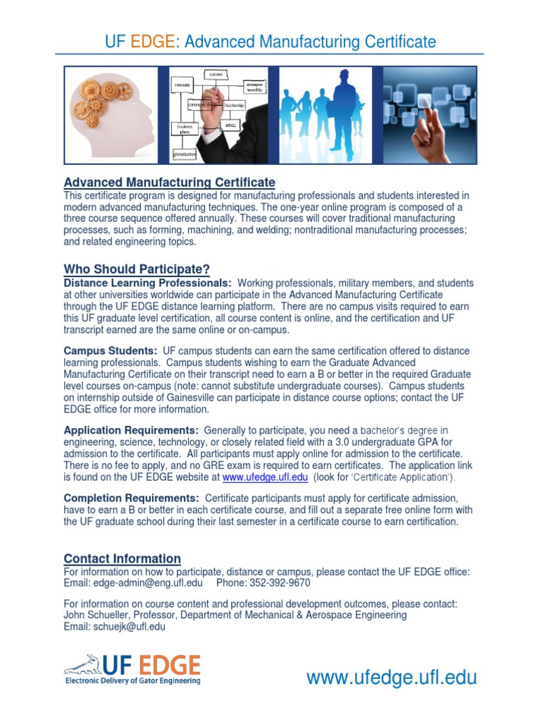 Brochure Advanced Manufacturing Certificate University And College