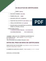 Planilla de Solicitud de Certificados