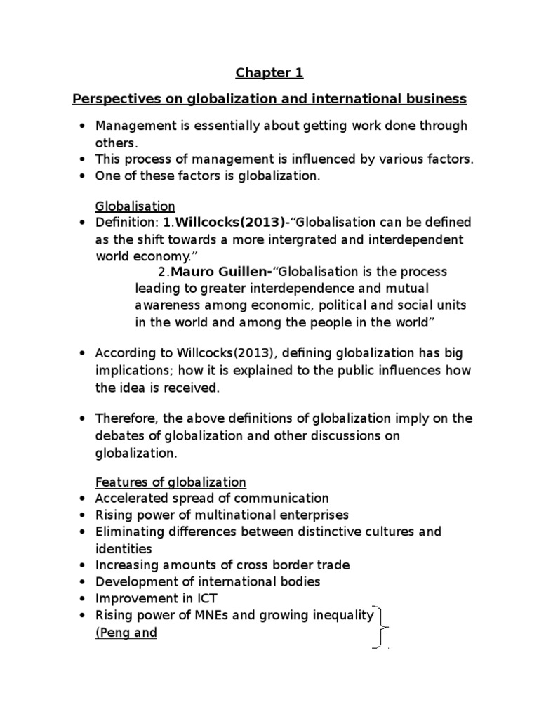 features of globalization