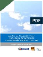 Modelo de Desarrollo Vasco. SALARIOS BENEFICIOS E INVERSION PRODUCTIVA III