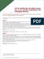 Evaluación Del Nivel de Satisfacción Del Adulto Mayor