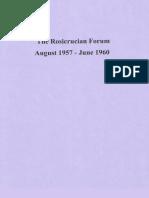 Rosicrucian Forum, August 1957-June 1960