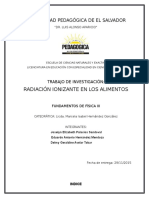 Trabajo de Investigación,Radiación en Los Alimentos