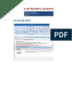 Inserción de WordArt, Ecuaciones y Símbolos